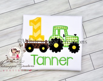 Boy Tractor Birthday Shirt, Tractor Toddler Outfit, Farm Birthday, 1st Birthday Outfit, Embroidered, Personalized, One Year Old