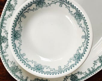 Horn and Hardart Fruit Bowls, Set of Four Marion Teal Transferware  by Mayer China, 1965