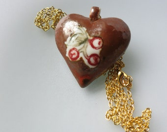 I Love you sweet cherry porcelain pendant necklace