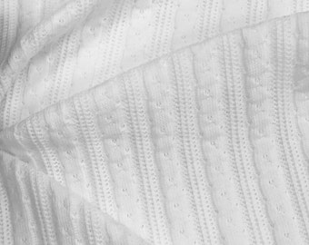 100% Cotton Cable Knit Sweater Fabric By the Yard (Wholesale Price Available By the Bolt) USA Made Premium Quality - 7997C White - 1 Yard