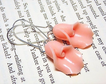Pink and Silver Lily Earrings