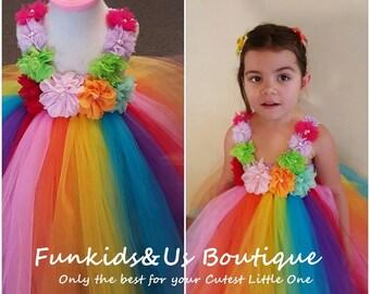 Rainbow Birthday Tutu Dress -Rainbow Tutu Outfit, Rainbow Dress-  Full & Fluffy Rainbow TUTU