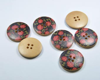 BO1 - Set of 7 red and black wooden buttons
