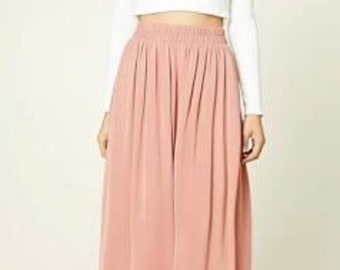 Crepe pastel full length maxi skirt, long casual skirt, made to order, all sizes