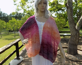 Hand Crocheted Open Grid SHAWL or SCARF Red Orange Coral Pink