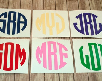 Circle Monogram Decal - One Personalized Vinyl Decal - Initial Decal - Sticker - Monogram Sticker - Cup Decal - Laptop Decal