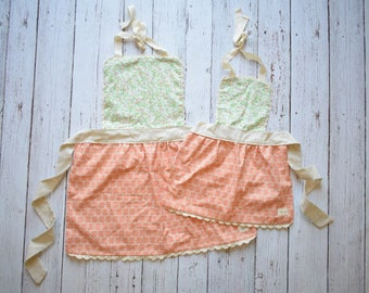 Mommy and Me Apron Set - Vintage Style Girl Apron - Peach and Aqua Apron - Little Girl Apron - Toddler Girl Apron