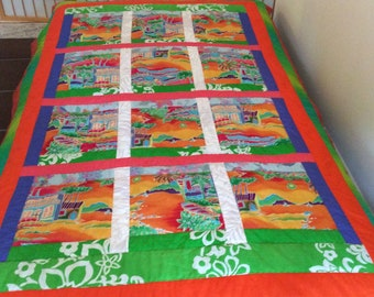 "Quilt - patchwork - Twin Size - 52"" x 83"" - Wall Hanging - machine washable - gift idea - handmade - original design"