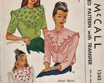McCall 1243 / Vintage 40s Sewing Pattern With Embroidery Transfer / Blouse / Size 14 Bust 32