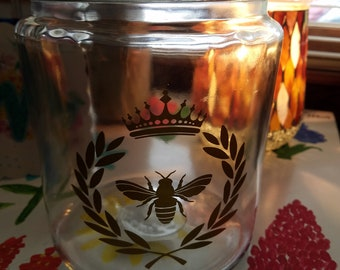 Queen Bee Glass Jar Canister