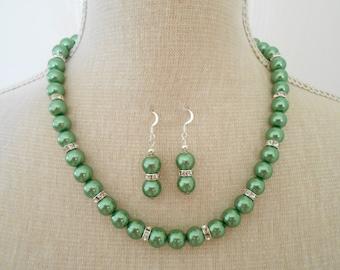 Handmade green set, green pearl set, green jewelry set, green pearl necklace, wedding necklace, green bridesmaid, bridesmaid gift