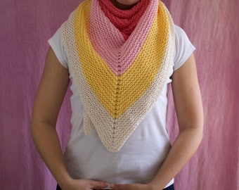 COTTON hand knitted triangle summer shawl