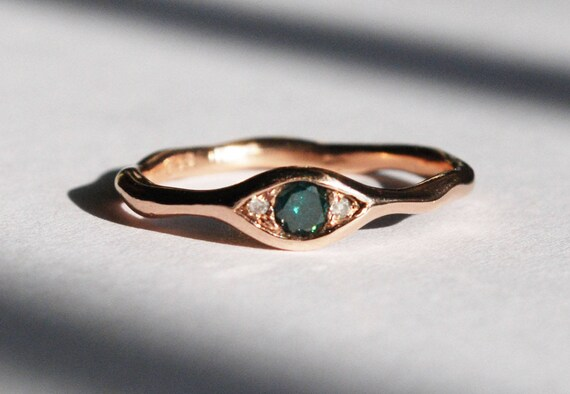 10k Rose Gold, Faceted Blue-Green Diamond & White Diamond Eye Ring