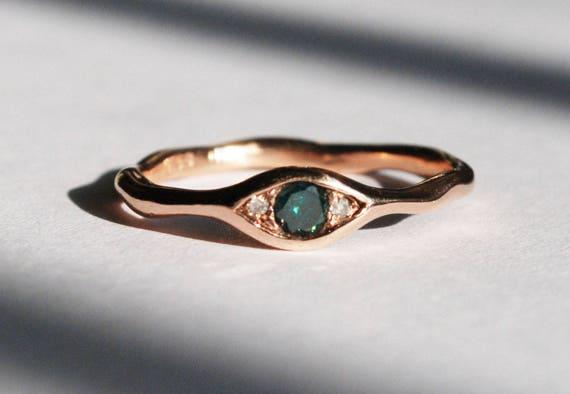10k Rose Gold, Faceted Blue-Green Diamond & White Diamond Eye Ring