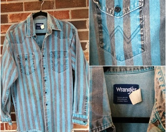 Blue and Black Striped Wrangler Button Up, 17/34
