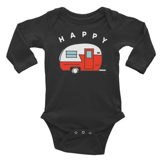 Happy Camper Camping Baby Gift Infant Long Sleeve Onesie Bodysuit