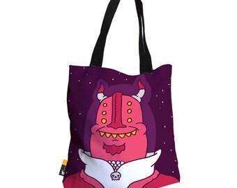 "Artist Designed Tote Bag - 18"" Inch Purple Beach Bag | Captain Skull by Bigshot Robot | UBU Republic"