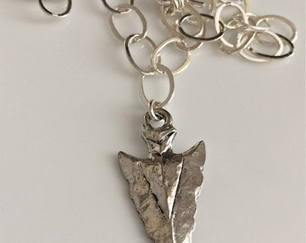 Choker Length Sterling Silver Necklace    Pewter Arrowhead Necklace