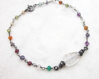 Multicolor gemstone bracelet, carved leaf quartz bracelet, dainty layering gemstone bracelet, wire wrapped stone bracelet, bohemian jewelry
