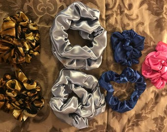 Satin and knit scrunches 4 for 20