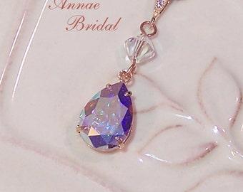 "Small crystal teardrop pendant necklace, bridal jewelry, crystal Aurora Borealis, rose gold, wedding, Swarovski, ""Sweet Kiss"" necklace"