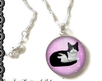 925 Sterling Silver Chain: 25 mm cabochon necklace * cat * (080218)