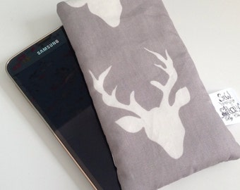Stag printed fabric protective smartphone sleeve / case