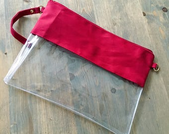 Clear Stadium Bag with GARNET Trim and Monogram