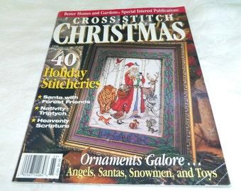 Cross Stitch Christmas magazine back issue, Christmas 1996, BH & G, 40 projects Santa, Ornaments, Teddy Bears