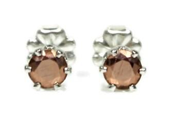 Copper Earrings Sterling Silver Copper Stud Earrings Copper Jewelry Anniversary Gift Copper Post Earrings 4MM Faceted Copper Metal