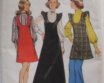 Vintage 70's Sewing Pattern - Junior Petite Jumper and Blouse - Simplicity 5373 - Size 7JP, Bust 32,  Uncut
