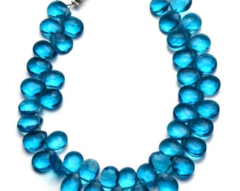 "Neon Apatite Color Hydro Quartz Faceted 7x5MM Approx. Pear Shape Briolettes Beads 5.5"" Full Strand Super Fine Quality Beads"