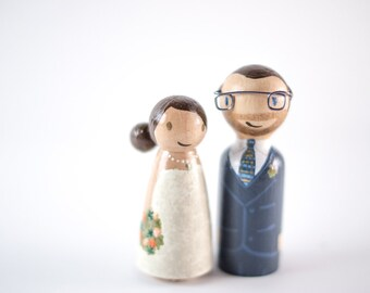 Nerdy Cake Topper - geeky cake toppers - wedding cake topper - geek wedding - peg people cake toppers - wooden peg people - nerd wedding