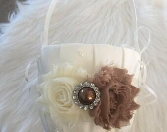 Beautiful Ivory/Dark ivory  Flower Girl Basket - Ivory Rhinestone Flower Girl Basket.