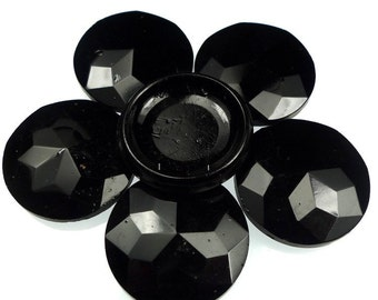 Double hole drilled beads, faceted glass jet round 6pcs