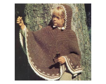 Hooded Poncho for Kids - Crochet Pattern - Warm Wool