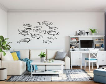 School of See Through Fish Decals on Removable Vinyl - Decal of School of Fish, Fish Wall Decals, Fish Decals