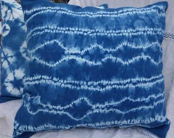 "Shibori Pillow Cover Indigo Pillow Cover Natural Dye Pillow Cover Blue White  22"" x 22"" Hand Dyed Pillow Cover Large Stitched Shibori Pillow"