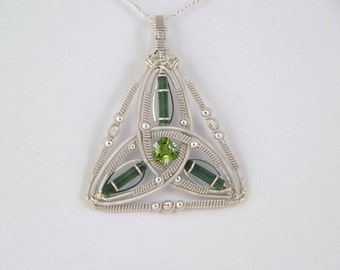 Faceted peridot and tourmaline crystal sterling argentium silver wire wrap pendant