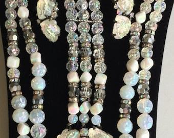Dazzling Vintage Schiaparelli Parure~Lava Rock Necklace Bracelet Earrings Set~Signed