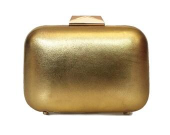 Gold Metallic Box Clutch - AISHA