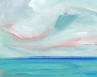 Modern Art Print, Acrylic Painting Print, Colorful Print, Abstract Landscape, clouds, sky, Sea, Ocean, Water