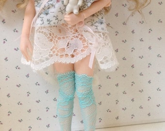 Thigh High Lace  Stockings / soft blue / Blythe
