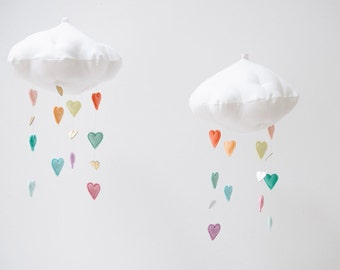 Luxe Pastel Rainbow Heart Cloud Mobile - Free Shipping in the US - nursery decor