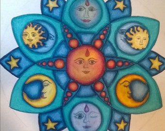 Original celestial mandala style drawing of sun and moon using Prismacolor colored pencils.