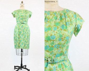 50s Wiggle Dress Large / 1950s Vintage Floral Silk Dress / Fleurs Bleues Dress