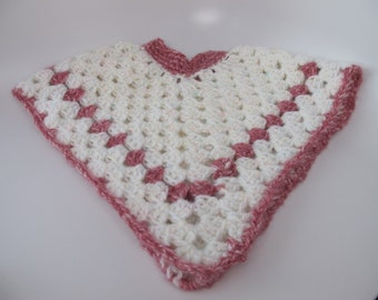 Poncho infant sized crocheted white with multicolor flecks and pink trim