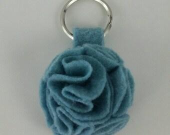 Ocean Blue Ruffled Felt Flower Keychain Key Chain Gift Handmade Gift Felt Flower Keyring Under 10 dollars Sweet 16 Flower Floral Key Ring