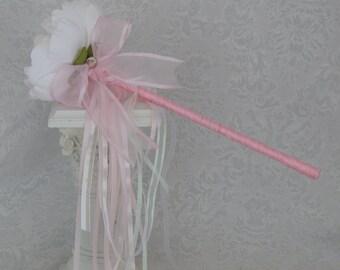 Flower Girl Wand- White Peony Pink Wand Wedding Accessory