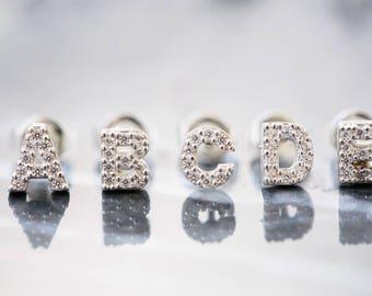 925 sterling silver initial earring,silver earring,piercing earring,tragus earrings,thread earrings,earringesign,funky earrings,92 E-00086